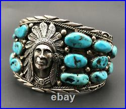 Vtg Navajo Sterling Silver Sleeping Beauty Turquoise Indian CHIEF Cuff Bracelet