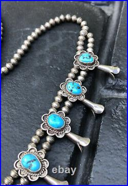 Vtg Navajo Sterling Silver Sleeping Beauty Turquoise Squash Blossom Necklace 22