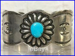 Vtg Old Pawn Navajo Stampwork Sterling Sleeping Beauty Turquoise Cuff Bracelet