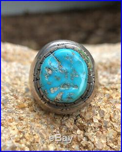 Vtg Old Pawn Navajo Sterling Silver Blue Sleeping Beauty Turquoise Men's Ring