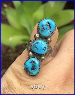 Vtg Old Pawn Navajo Sterling Silver Sleeping Beauty Turquoise Stamped Long Ring