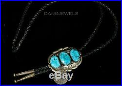 Vtg Old Pawn ZUNI A Quam Hand Carved Sleeping Beauty Turquoise Sterling Bolo Tie