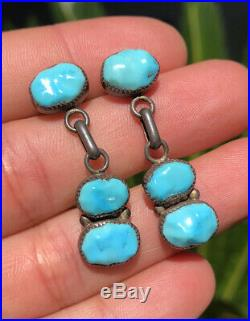 Vtg Pawn Sterling Silver Navajo Sleeping Beauty Turquoise Post Dangle Earrings