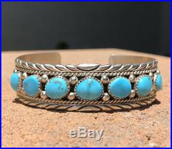 Vtg RB Navajo Native Sterling Silver Sleeping Beauty Turquoise Cuff Bracelet