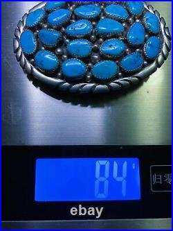 Vtg Sleeping Beauty Turquoise Sterling Silver Navajo Handmade Belt Buckle Signed