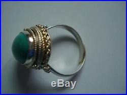 Vtg Sterling silver Sleeping Beauty Turquoise Pill Poison RingSz6,7,8,9Free SH