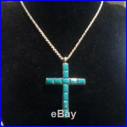 Vtg Tom David Navajo Sleeping Beauty Turquoise Sterling Silver Cross Necklace