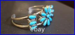 Vtg Zuni Petit Pointe Sleeping Beauty Turquoise Cuff Bracelet Signed D J