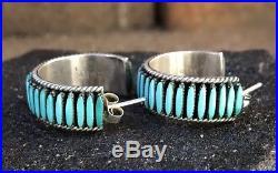 Vtg Zuni Sterling Silver Sleeping Beauty Needlepoint Turquoise 1 Hoop Earrings