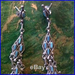 Vtg Zuni Sterling Silver Sleeping Beauty Turquoise Petit Point Earrings