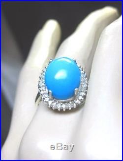 Wow Elegant Antique White Gold Diamond Studded Sleeping Beauty Turquoise Ring