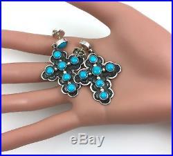 WOW! Sleeping Beauty Turquoise Cross Earrings HAPPY PIASSO signed