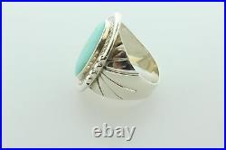Wilson Padilla Navajo Vintage Sterling Silver Sleeping Beauty Turquoise Ring- 12