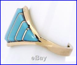 Women's Natural Blue Turquoise Navajo Indian Handmade Inlaid 14k Gold