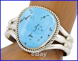 Women's Navajo Handmade Sleeping Beauty Turquoise. 925 Sterling Silver Cuff