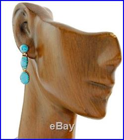 Women's Zuni Inlaid Sleeping Beauty Natural Turquoise 14k SOLID Yellow Gold