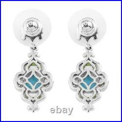 Yellow Gold 925 Silver Platinum Over Sleeping Beauty Turquoise Earrings Ct 2.8