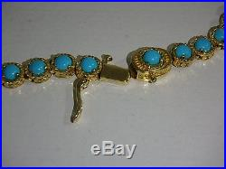 Yellow Gold Clad Sleeping Beauty Turquoise Diamond Cut Tennis Necklace 18 Inch