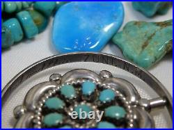 ZUNI Lonconsello Sleeping Beauty TURQUOISE Coral STERLING Spinner PENDANT Snd