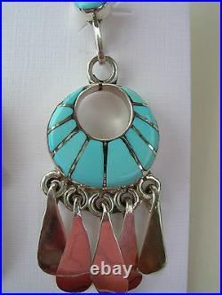 ZUNI Native American SLEEPING BEAUTY TURQUOISE & Sterling Silver Post Earrings