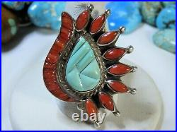 ZUNI Sleeping Beauty TURQUOISE Coral STERLING Silver CORN ROW RING sz8.5 snd