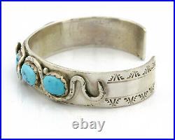 Zuni Bracelet. 925 Silver Sleeping Beauty Turquoise Signed Effie C C. 80's
