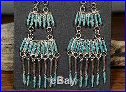 Zuni Chandelier Earrings Sleeping Beauty Turquoise needlepoint Jeannie Lastiyano