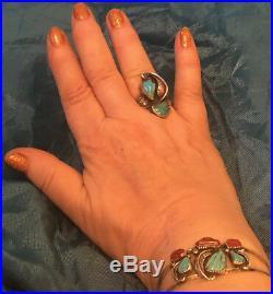 Zuni Cochiti Nelson Charlotte Eustace Sleeping Beauty Turquoise Coral Bracelet