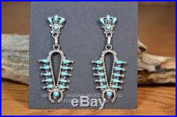 Zuni Earrings Squash Blossom Petit Point dangle Sleeping Beauty Dave Pincion