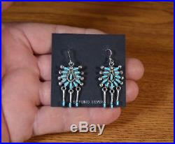 Zuni Earrings Sterling Silver dangle Sleeping Beauty turquoise Keith Leekity