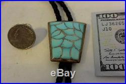 Zuni Fish Scale BOLO TIE Sterling Silver Sleeping Beauty Turquoise Fancy Tips