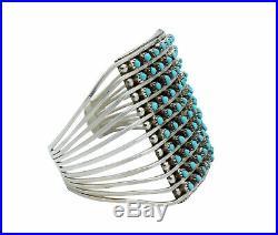 Zuni Handmade Bracelet, Sleeping Beauty Turquoise, Petit Point, 10 Row, 6.25