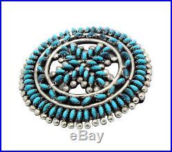 Zuni Handmade, Pin, Pendant, Sleeping Beauty Turquoise, Cluster, Signed JB