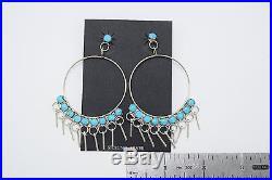 Zuni Handmade Sleeping Beauty Turquoise Hoop Earrings in Sterling Silver
