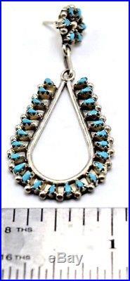Zuni Handmade Sleeping Beauty Turquoise Petit Point Earrings Sterling Silver TL
