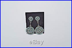 Zuni Handmade Sleeping Beauty Turquoise Petite Point Earrings in Sterling Silver
