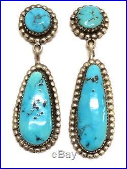 Zuni Handmade Sterling Silver Sleeping Beauty Turquoise Post Earrings R&B Leekya