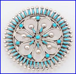 Zuni Handmade Sterling with Petit Point Sleeping Beauty Turquoise Pin/Pendant