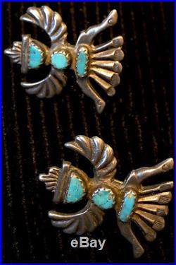 Zuni Horace Iule Signed Cast Sleeping Beauty Turquoise Knifewing Bolo w Earrings