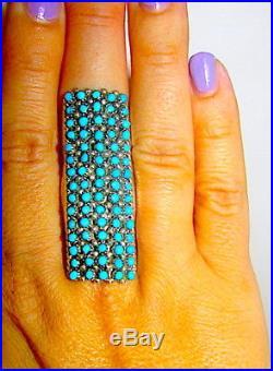 Zuni Huge Snake Eye Ring Size 7 Sterling Silver Sleeping Beauty Mine Turquoise