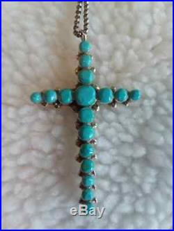 Zuni Inlay Sleeping Beauty Turquoise Cross 19 Silver Chain Native American USA