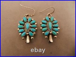 Zuni Jack Weeboty Sleeping Beauty Turquoise & Sterling Squash Blossom Earrings