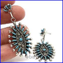 Zuni Needlepoint Dangle Earrings Turquoise Sterling Sleeping Beauty 2in Signed