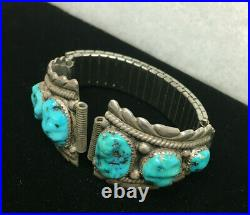 Zuni R&B Leekya Sleeping Beauty Turquoise Ster Silver Watch Band Ends 49g Signed