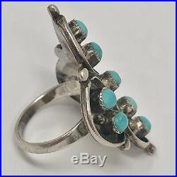 Zuni Snake Eye Turquoise Ring Sleeping Beauty Sz 7 Sterling Silver 7g VTG 1960s