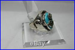 Zuni Snake Sterling Silver and Sleeping Beauty Turquoise Ring size 12