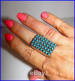 Zuni Sterling Snake Eye Sleeping Beauty Mine Turquoise Ring Size 8.5 Signed