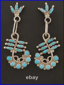 Zuni Turquoise Dangle Earrings Sterling Silver Sleeping Beauty Turquoise