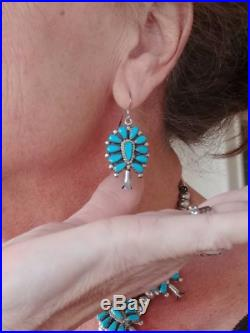 Zuni Turquoise Squash Blossom Necklace and Earring Sleeping Beauty Petite Point