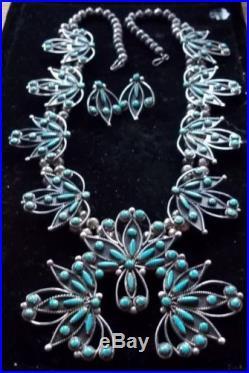 Zuni flower burst squash blossom necklace with sleeping beauty turquoise